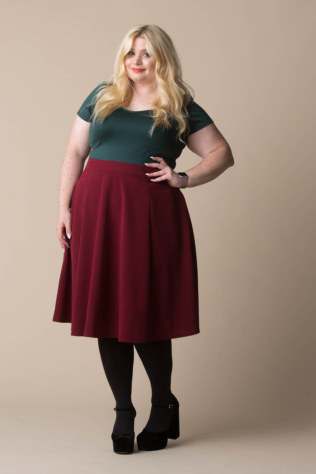 Tilda Skirt in Maroon Skirt Steady Clothing - Hello Holiday