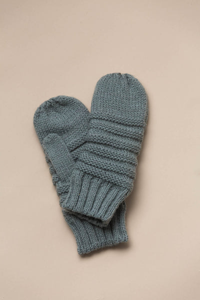Quebec Knit Mittens in Mint Gloves Look By M - Hello Holiday