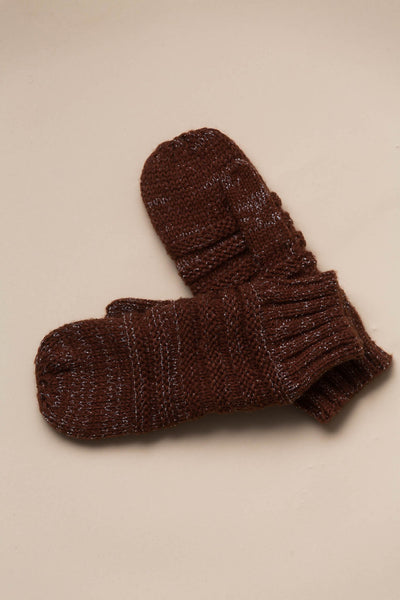 Quebec Knit Mittens in Clay