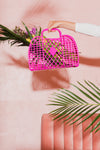 Large Jelly Retro Basket - Hot Pink