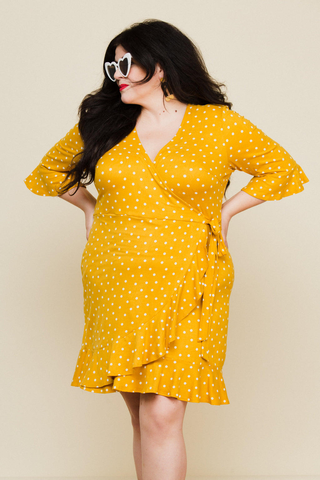 Paloma Wrap Dress in Mustard