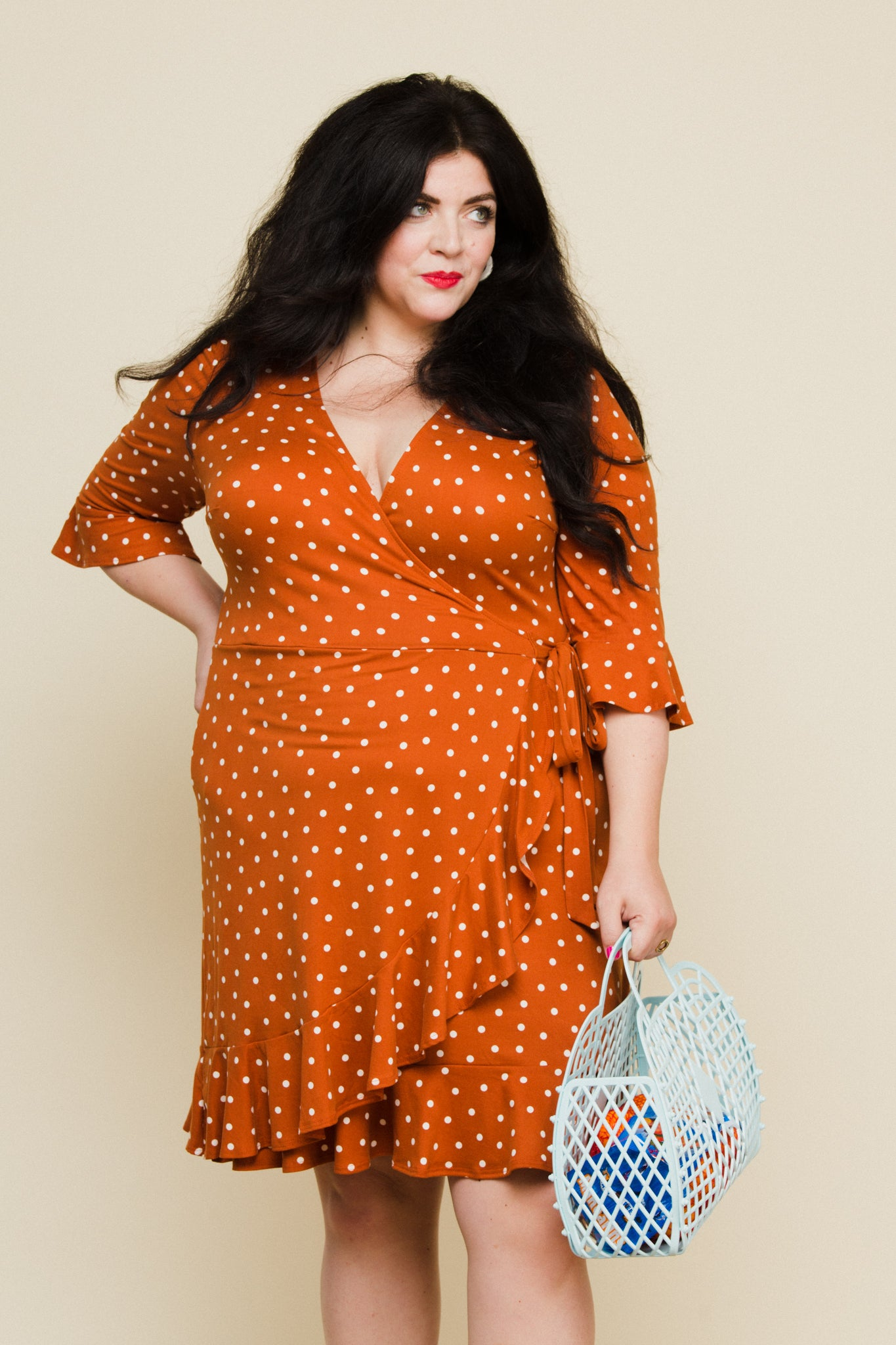 Paloma Wrap Dress in Rust