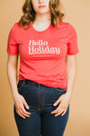 Hello Holiday Tee in Red