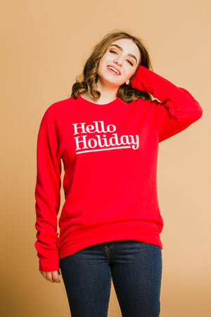 Hello Holiday Sweatshirt in Red
