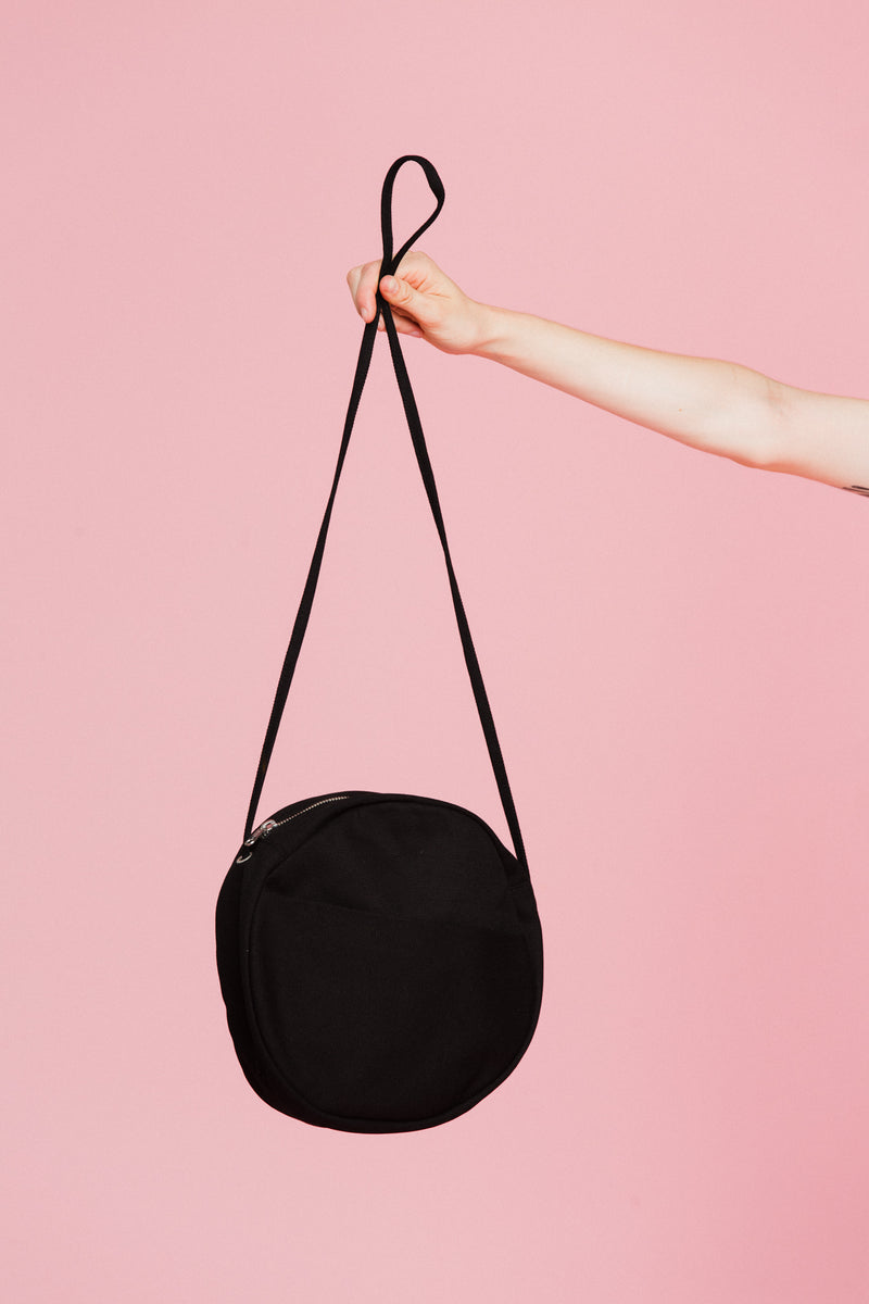 Canvas Circle Purse in Black