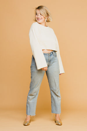 Caitlin Cropped Sweatshirt in Ivory