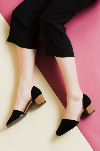 intentionally blank contrast in black and cognac brown shoes heels