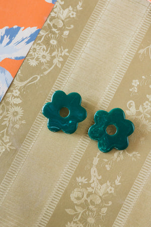Jade Marble Daisy Earrings