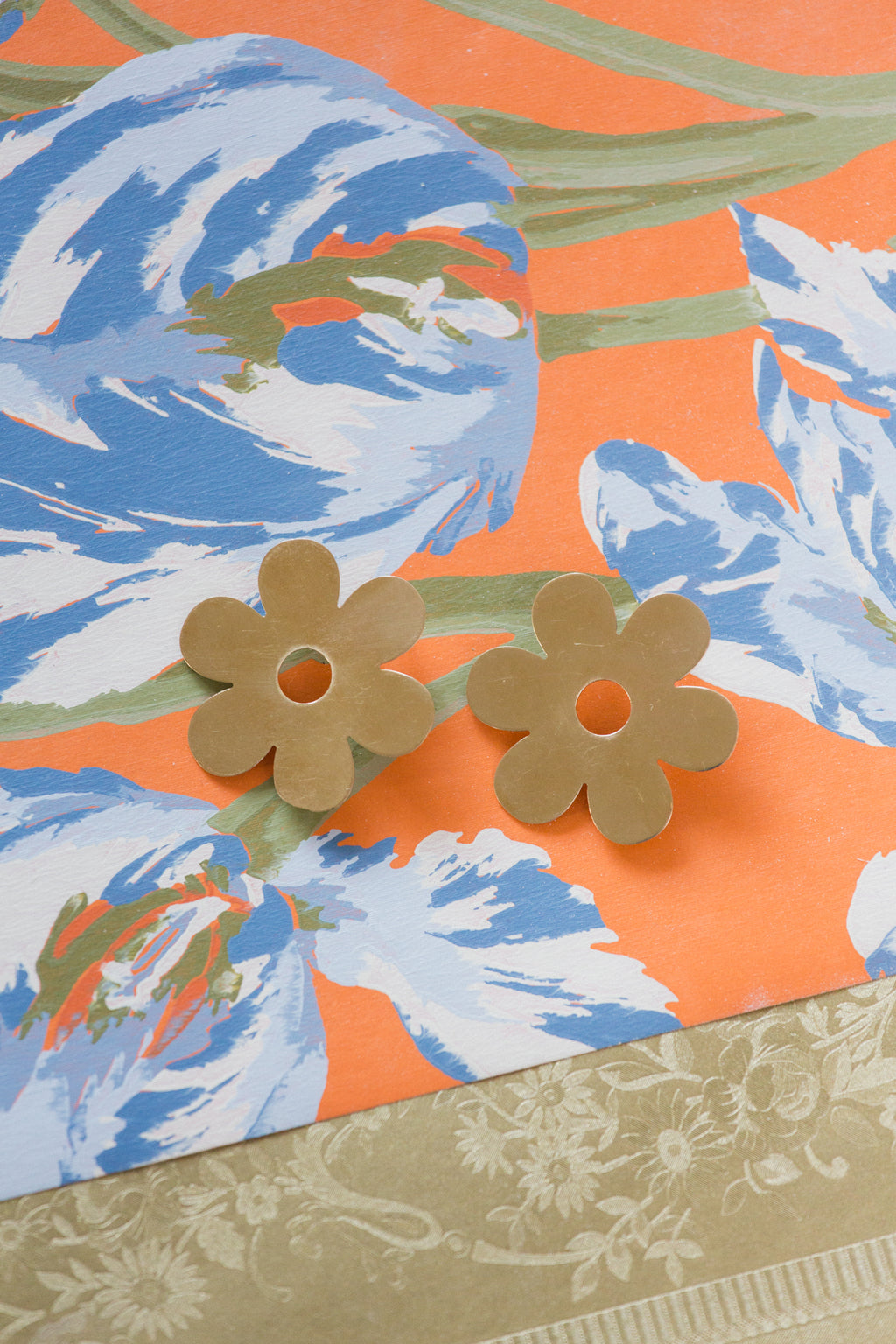 Large Brass Daisy Earrings
