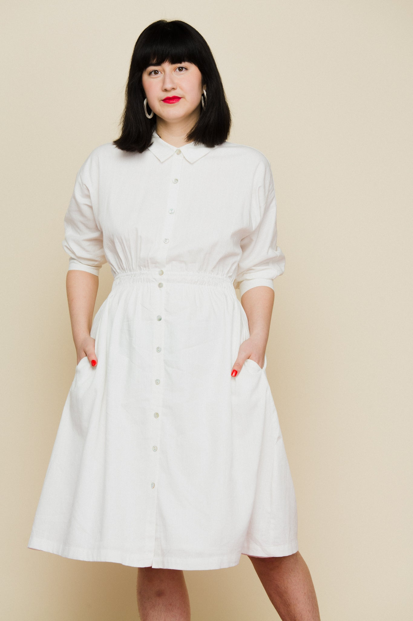 white linen cotton blend dress from mo: vint vintage inspired modern simple midi dress wing sleeve quarter sleeve spring dress white dress