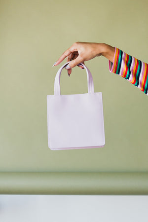 Small Leather Retail Tote in Pale Orchid