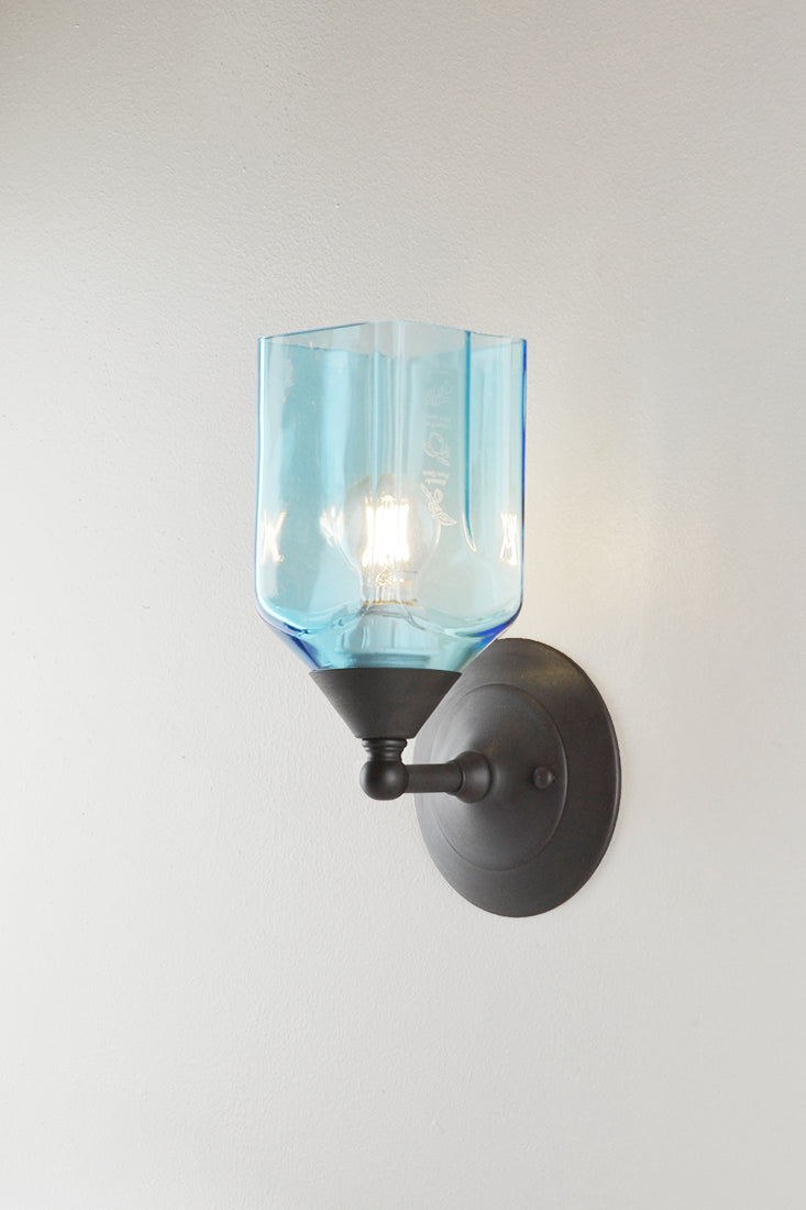 Bottle Glass Sconce, Small Bombay Sapphire