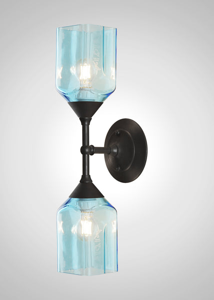 Bottle Glass Linear Double Sconce, Small Bombay Sapphire