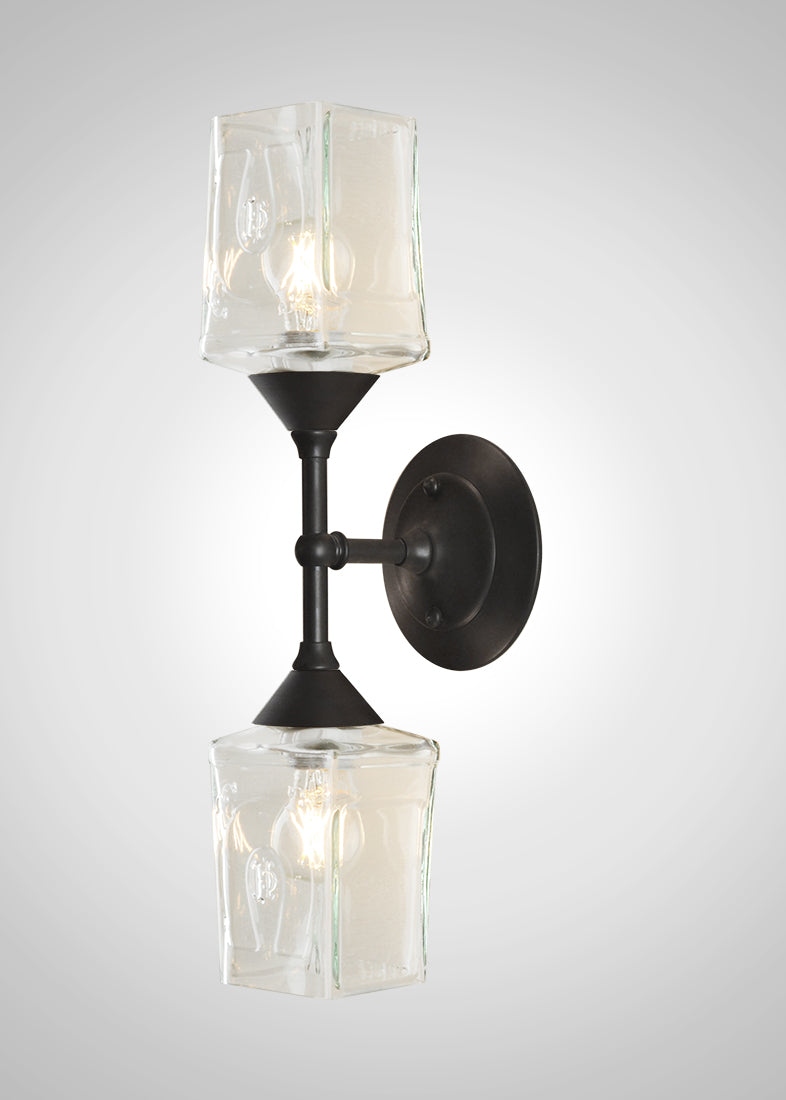 Bottle Glass Linear Double Sconce, Herradura