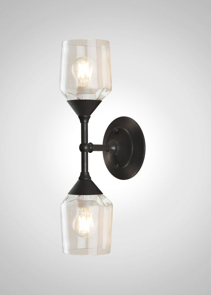 Bottle Glass Linear Double Sconce, Small Hennessy