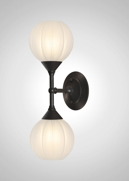 Mirage Glass Small Globe Linear Double Sconce