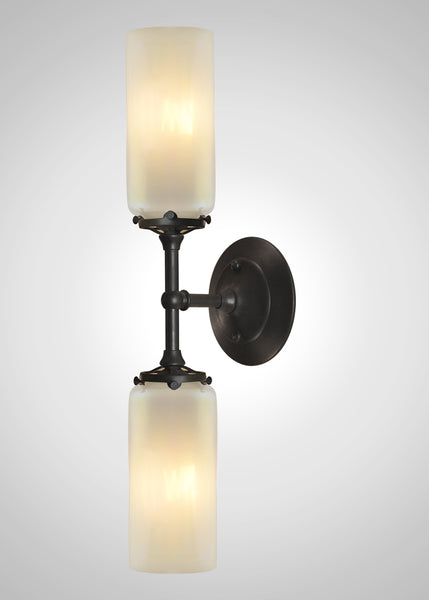 Prairie Glass Opal Optic Cylinder 2F Linear Double Sconce