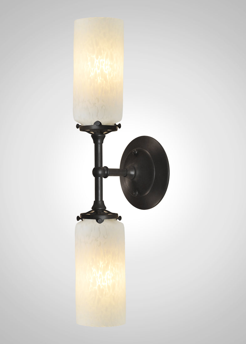 Prairie Glass Spotted Cylinder 2F Linear Double Sconce