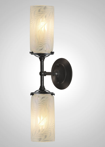 Lundberg Glass Opal Moire 3F Linear Double Sconce