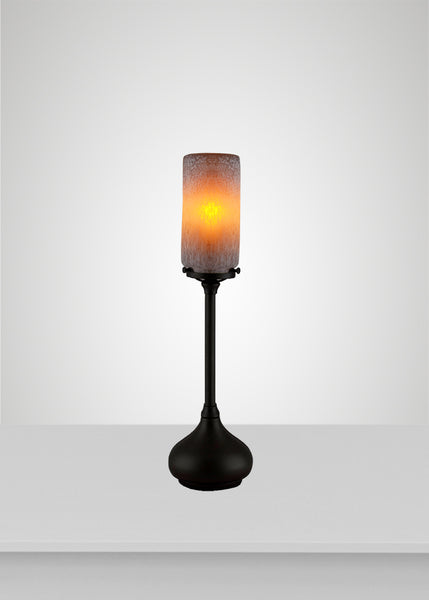 Prairie Glass Spotted Cylinder Acacia Table Lamp