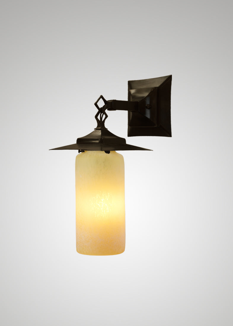 Prairie Glass Spotted Cylinder Black Oak Hanging Sconce