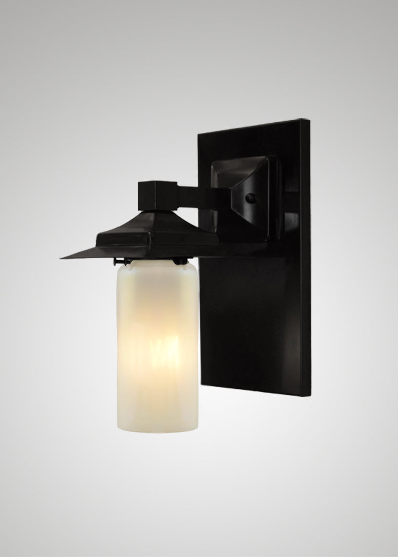 Prairie Glass Opal Optic Black Oak Classic Exterior Sconce