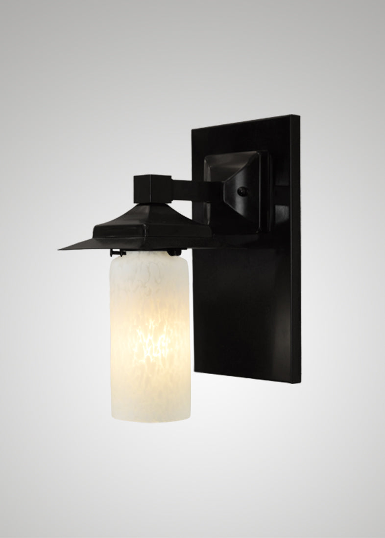 Prairie Glass Spotted Cylinder Black Oak Classic Exterior Sconce