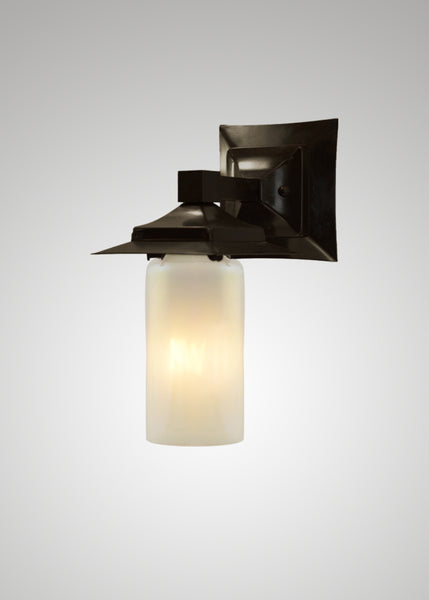 Prairie Glass Opal Optic Black Oak Small Exterior Sconce