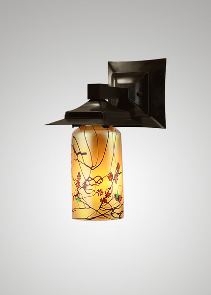 Prairie Glass Cal Poppy Cylinder Black Oak Small Exterior Sconce
