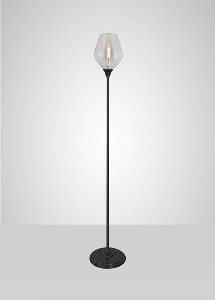 Dune Glass Diamond Acacia Floor Lamp
