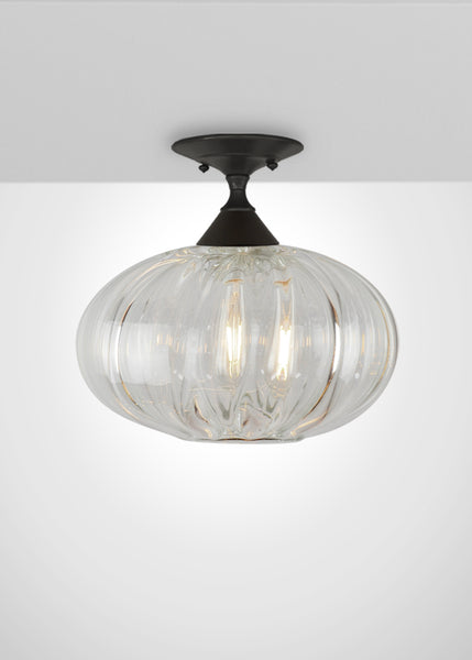 Mirage Glass Oval Semi-Flush Mount