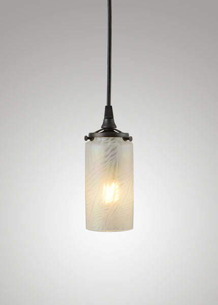 Lundberg Glass Opal Moire Cylinder 2F Pendant