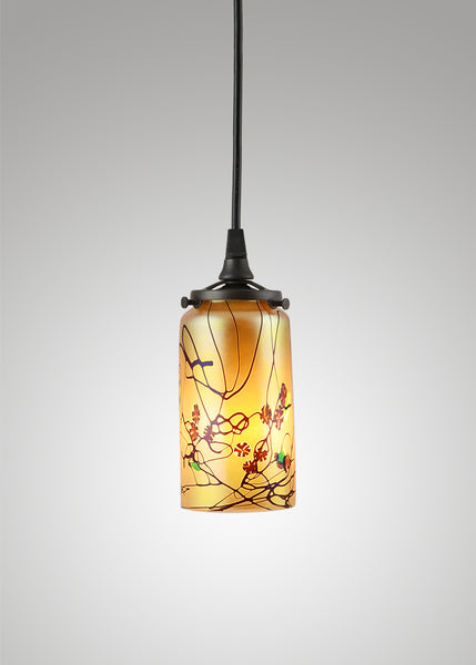 Prairie Glass Cal Poppy Cylinder 2F Pendant