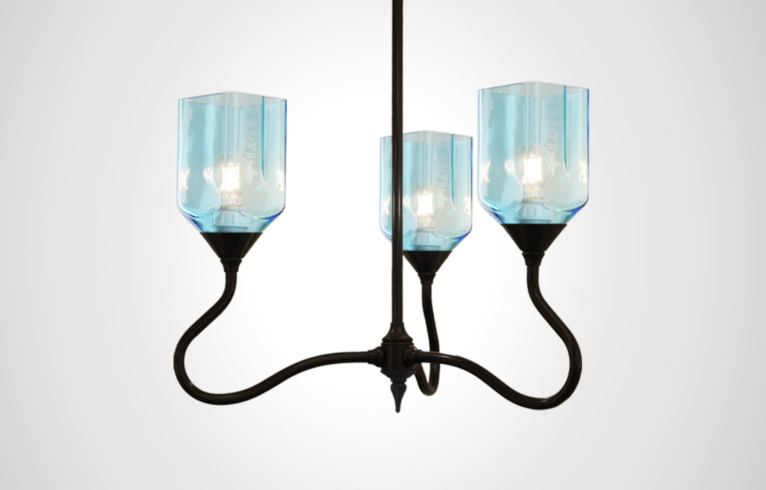 Bottle Glass Trumpetvine Chandelier