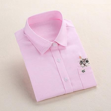 Print Cat Embroidery on Pocket Shirts Lady 2017 Spring New Fashionrricdress-rricdress