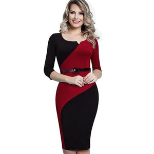 Women Casual Elegant Work Business Office Belted Colorblock Contrasting Fitted Bodycon Pencilrricdress-rricdress