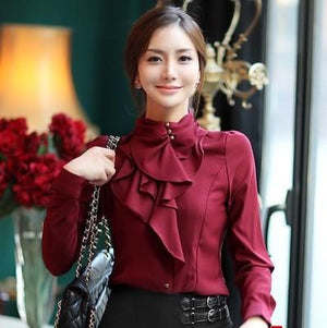 Fashion stand collar long sleeve female shirt OL office Formal elegantrricdress-rricdress
