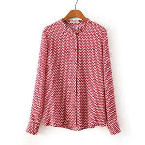 Women red leaves cotton blouses vintage stand collar long sleeve Blusas Femininasrricdress-rricdress