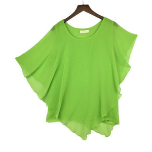 16 Color Plus size S- 5XL 6XL Ladies Chiffon Blouses chiffonrricdress-rricdress