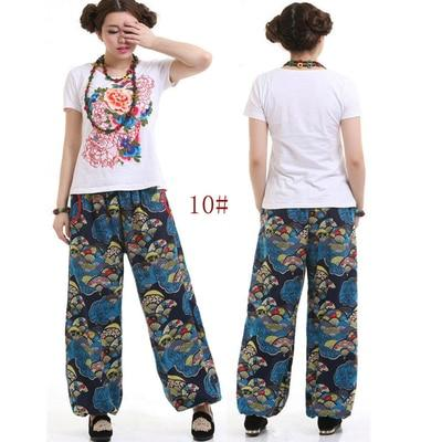 Large size cotton national wind flower pants long pants loose straight jeansrricdress-rricdress