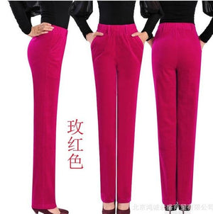 women's autumn Winter corduroy trousers waist straight female plus size 7xl thinrricdress-rricdress
