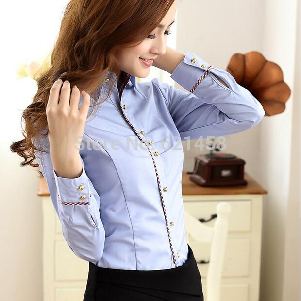 Newest Women's Cotton Long-Sleeved Basic Blouse Shirts Lady's Fashion Business OL Elegantrricdress-rricdress
