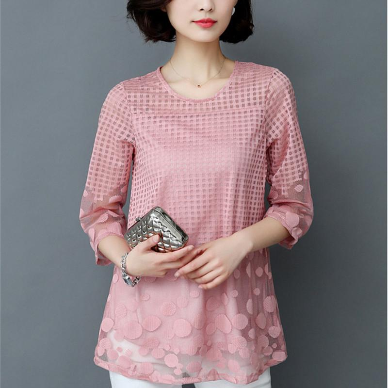 5XL Women Spring Summer Fashion Elegant Lace Blouse Shirt Chiffon 3/4 Sleeverricdress-rricdress