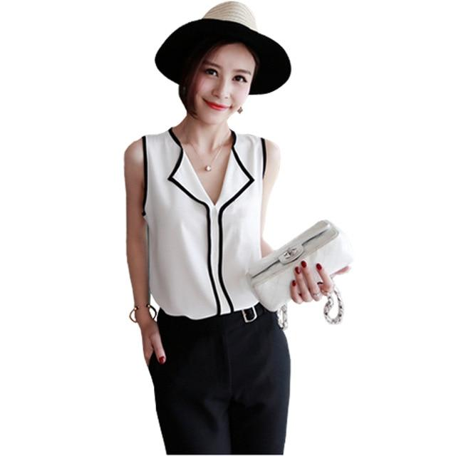2016 Summer Fashion Womens Casual White V Neck Sleeveless Black Side Chiffonrricdress-rricdress