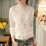 New Arrival 2017 Autumn Women Lace Plus Size Blouses Long Sleeves Fashionrricdress-rricdress