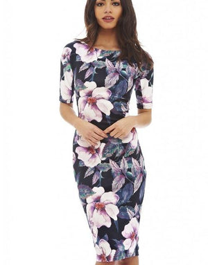 Free Shipping Designer Women Dress Elegant Floral Print Cap Sleeve Work Businessrricdress-rricdress