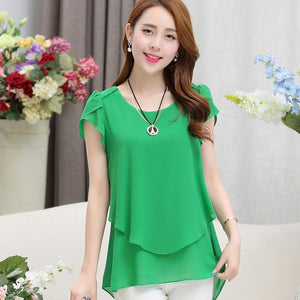 Fashion New 2017 Elegant Women Blouse Chiffon Short Sleeve O Neck Plusrricdress-rricdress