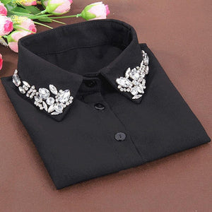 Korean fashion White Half Shirt Detachable High-grade crystal female blouse Fake collarrricdress-rricdress