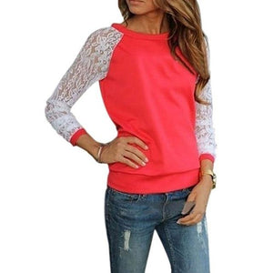 Fashion Lace Crochet Women Blouses Casual Round Neck Long Sleeve Blouserricdress-rricdress