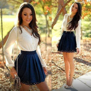 Fashion Women long sleeve Spring Autumn V Neck Bodycon Evening Party Shortrricdress-rricdress